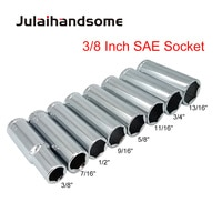 "3/8 Inch Drive Deep Socket Size SAE 3/8"" 7/16"" 1/2"" 9/16"" 5/18"" 11/16"" 3/4"" 13/16"" CRV High Quality Socket Wrench 63mm Length"