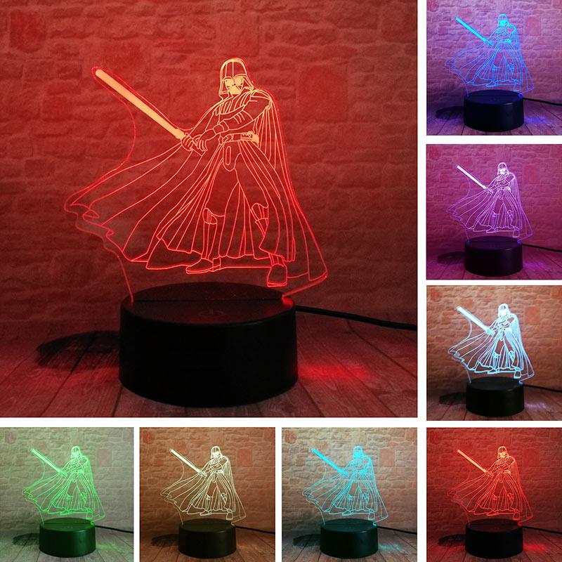 3d-лампа Дарта, модель Вейдера, светодиодная лампа, Красочный ночник, светится в темноте, Звездные войны, экшн-фигурки Дарта Вейдера