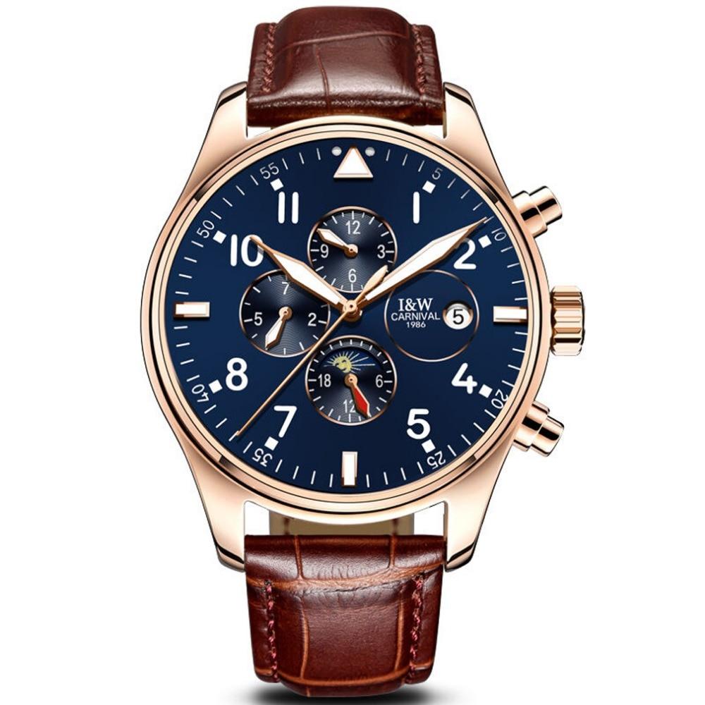Carnival-ساعة يد جلدية للرجال ، متعددة الوظائف ، أوتوماتيكية ، ميكانيكية ، بإطار ذهبي ، قرص أزرق