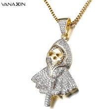 VANAXIN Hiphop Rock squelette collier Punk fantôme fête bijoux jésus croix spectre pendentif CZ cristal colliers fête glacé