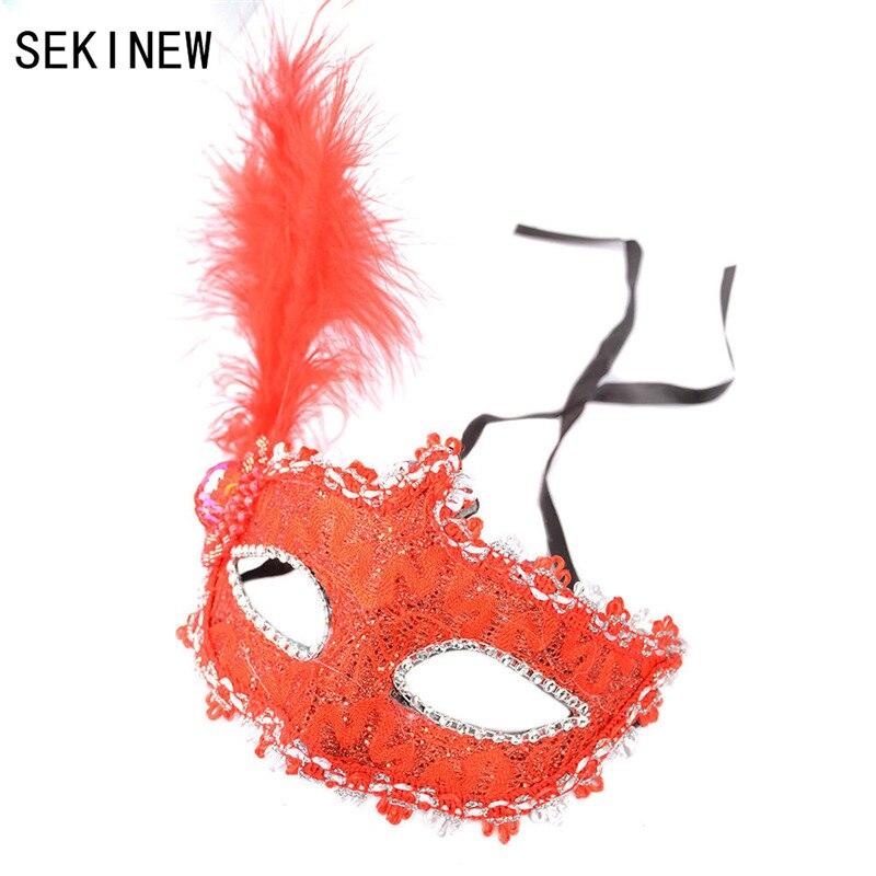 SEKINEW Vintage mascarada máscara Ojo con pluma Halloween fiesta encaje vestido de lujo Sexy Navidad decoración coche ornamentos