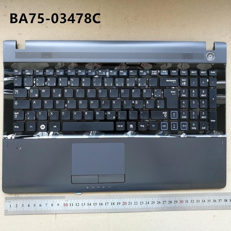 Germany New laptop keyboard with touchpad palmrest for Samsung RV509 RV511 RV515 RV520 E3511 grey GR BA75-03478C
