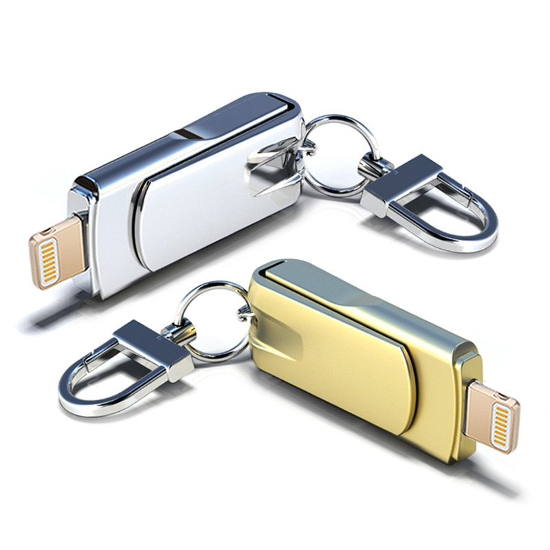 Metal USB Lighting Pendrive 32GB USB Flash Drive For iPhone Pen Drive 16GB 32GB 48GB 64GB 128GB For Mac Memory Stick Wholesale