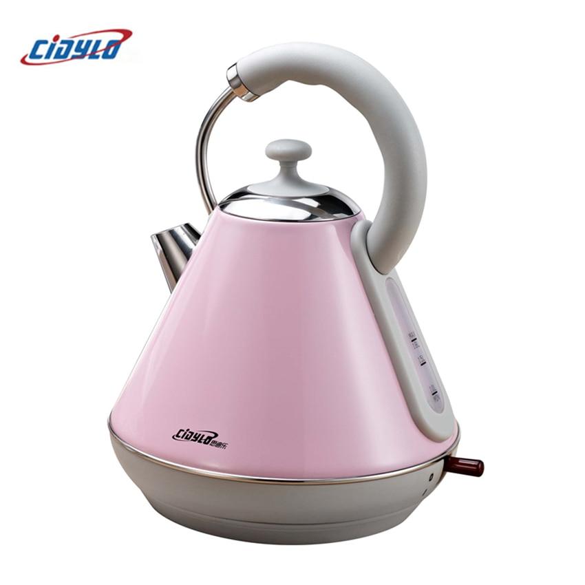 Cidylo 220 V Hervidor eléctrico 1.8L Wired Handheld cocina Acero inoxidable protección de apagado automático hervidor eléctrico hervidor de agua electrico
