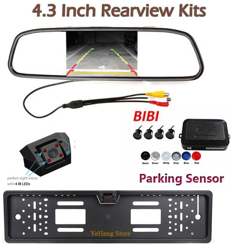 Sistema de Radar de respaldo inverso del Sensor de aparcamiento de vídeo de coche Visual 4,3 HD Monitor de coche y placa de matrícula de coche cámara de noche visión 4 IR
