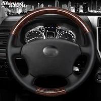 black genuine leather pu carbon fiber steering wheel cover for toyota land cruiser prado 120 2004 2009 land cruiser 1995 2007