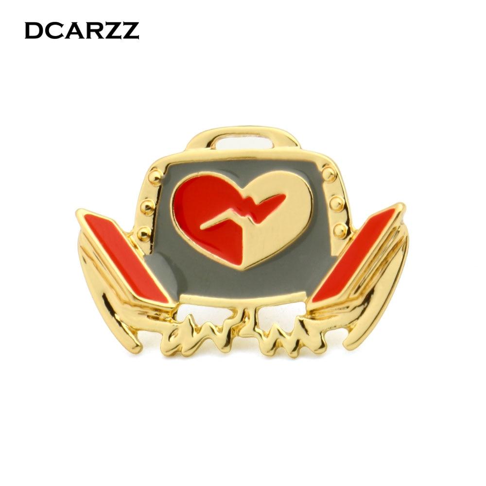 DCARZZ Золото Цвет дефибриллятор брошь медицинская мода ювелирные изделия подарок для доктора/медсестры/Медицинский студенческий Pin женщин ювелирные изделия
