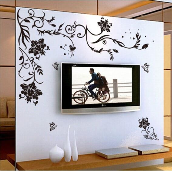 Calcomanías de vinilo de mariposa de vid de flores negras para decoración del hogar para habitaciones sofá Sala diseño de papel de pared calcomanías artísticas para decoración del hogar