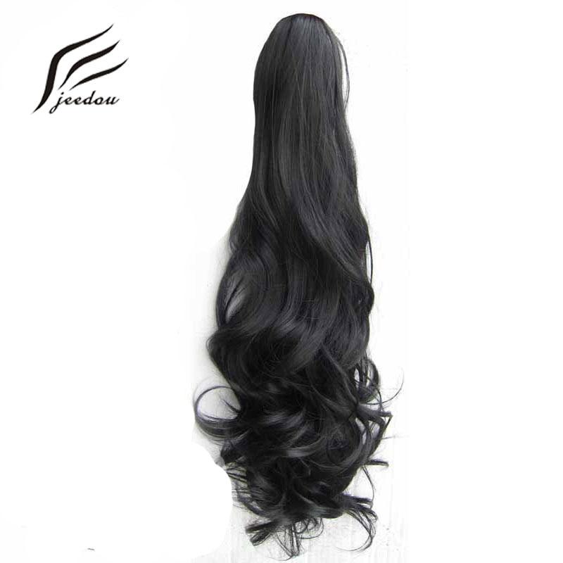 Jeedou, garra con cordón, cola de caballo, extensión de cabello sintético Natural ondulado negro, extensiones de cabello deshechas y desordenadas para mujeres