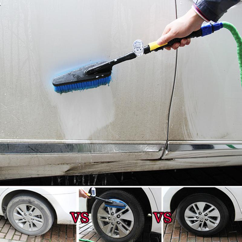Щетка для мытья автомобиля, прочная внешняя выдвижная щетка с длинной ручкой и переключателем расхода воды, щетка для очистки автомобиля из пены, 2019