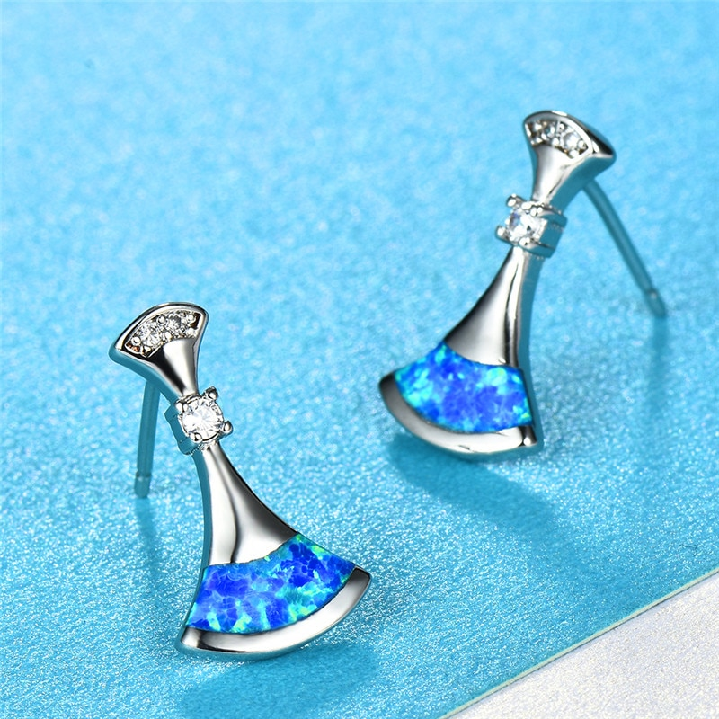 Pendientes de perno de hacha para hombre, pendientes de ópalo de fuego blancos y azules rellenos de plata de ley 925 para mujeres y hombres, joyería de cristal para boda, regalo