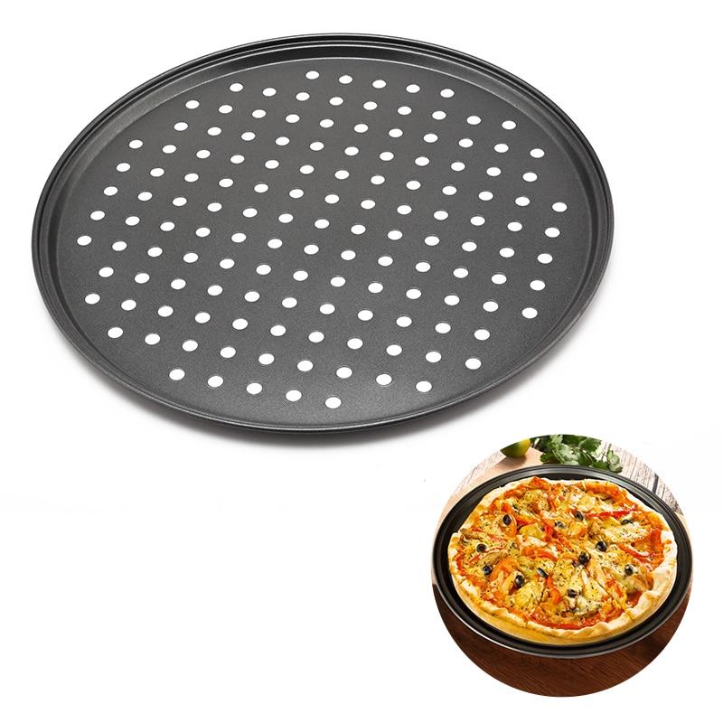 12-дюймовые кастрюли для пиццы из углеродистой стали с отверстиями антипригарные круглые формы для пиццы тарелки для выпечки дома кухонные ...