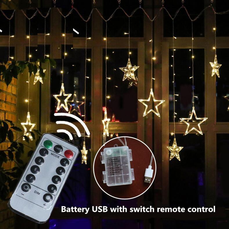 سلسلة ضوء الكريسماس مع جهاز تحكم عن بعد ، USB ، مصباح ستارة ، ضوء وامض ، إضاءة خارجية ، ديكور غرفة نوم