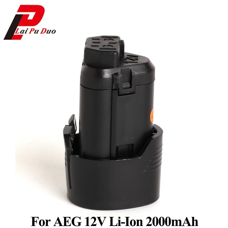 Para AEG 12 V 2000 mAh batería de repuesto de iones de litio para L1215, L1215P, L1215R, BS12C, BS12C2... BSS12C