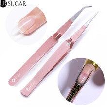 Pince à épiler UR sucre croix pince à épiler or Rose Action inverse pince à épiler acrylique outil dart dongle en acier inoxydable