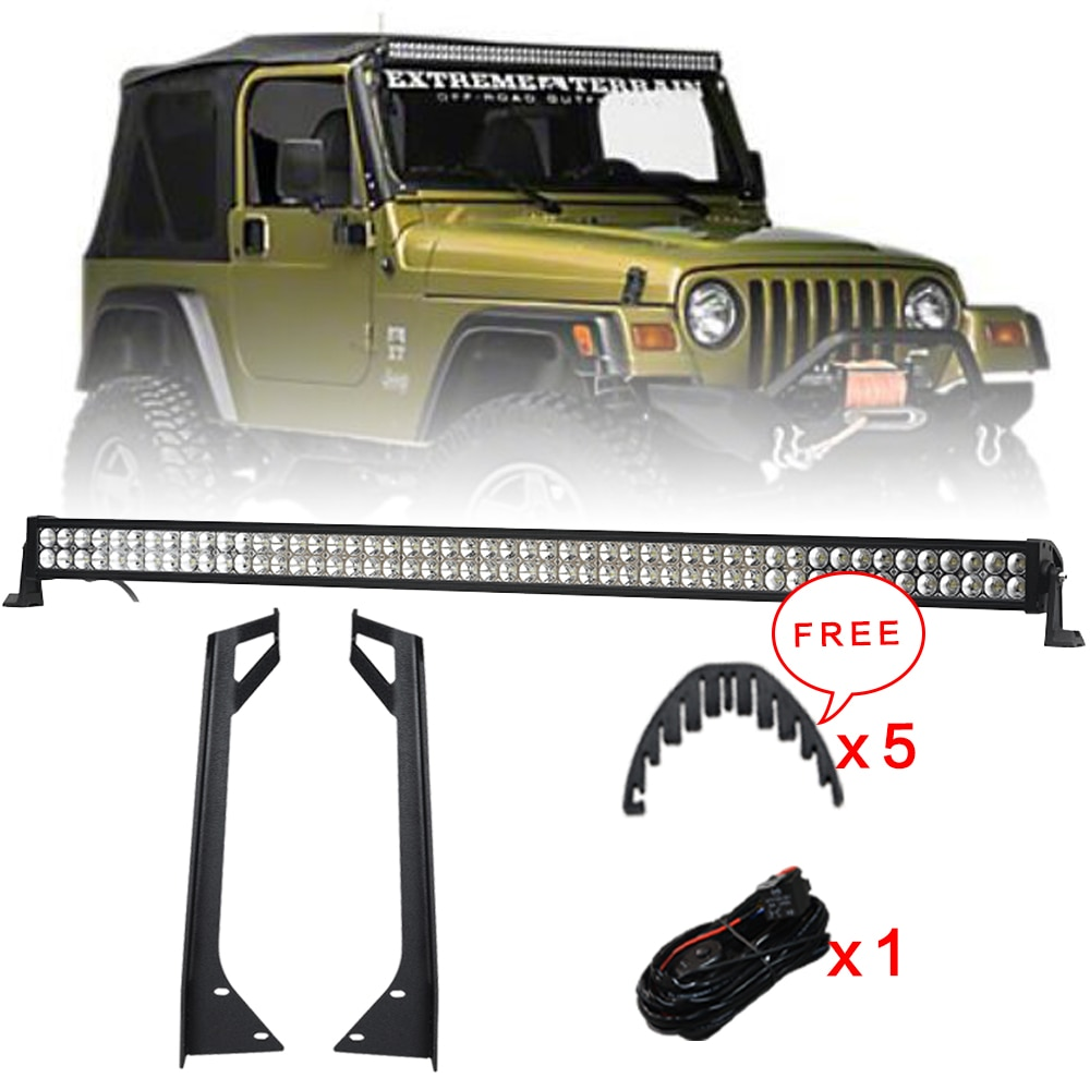 Kit de soportes de montaje para parabrisas + haz de Combo de barra de luz LED de 288W 50 pulgadas Offroad + arnés de cables para Jeep Wrangler YJ 1987-1995