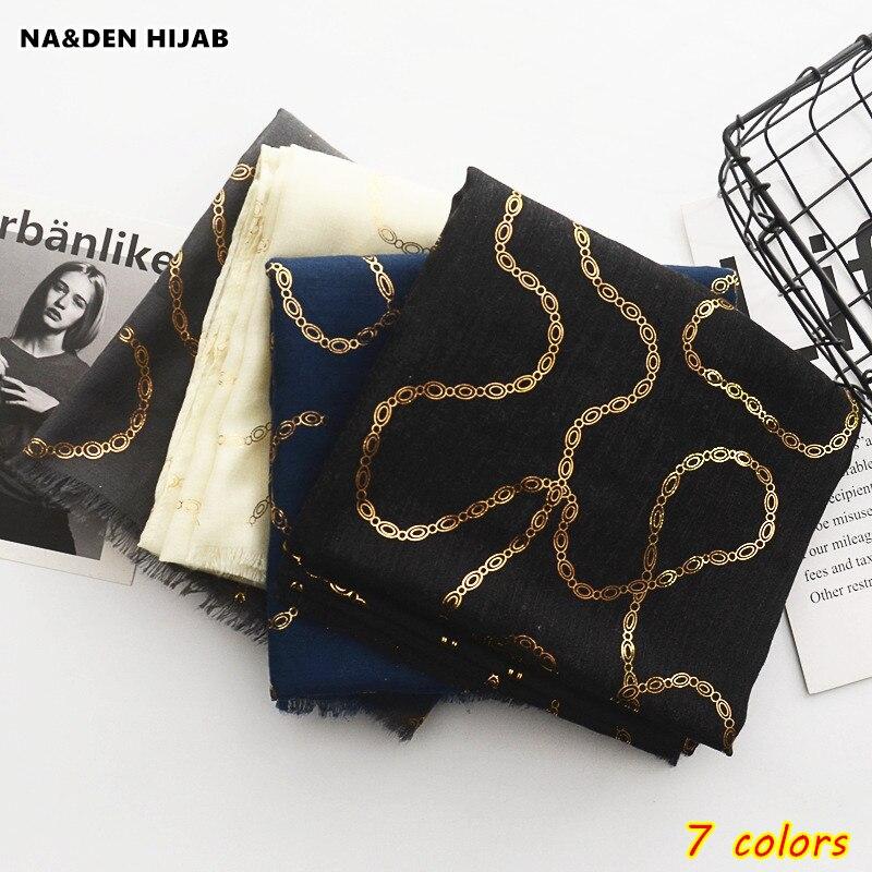 2020 جديد سلسلة نمط حار ختم الذهب اللون الحجاب وشاح المرأة والأوشحة و شالات لامع الأزياء الإسلامية الاوشحة العلامة التجارية تصميم
