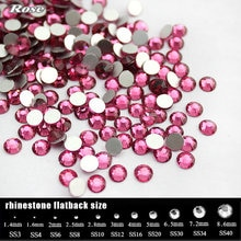 SS3-SS34 gül renk taklidi tırnak sanat,(288-1440pcs)/Paketi düz geri olmayan düzeltme tutkal Nail Art Rhinestones, butik