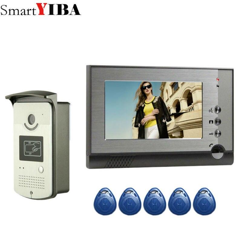 Portero inteligente con cable, videoportero, videoportero, tarjeta RFID, desbloqueo con 1/2 monitores, videollamadas para casa privada, visión nocturna