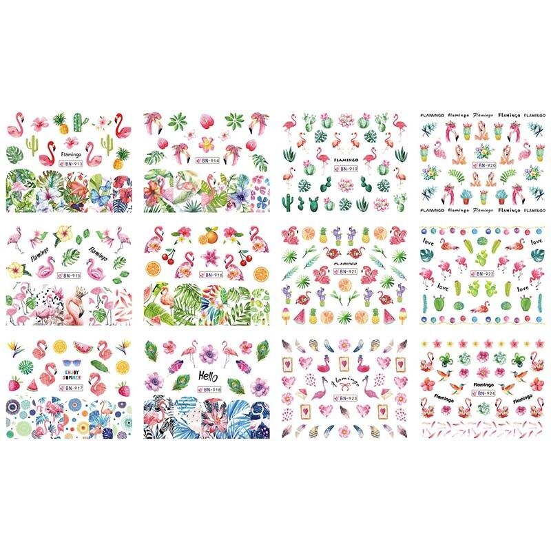 Adhesivo de transferencia de agua para uñas Mybormula, 12 diseños, verano, Selva, flamenco, planta verde, Fruta de verano, decoración, envolturas, BN913-924