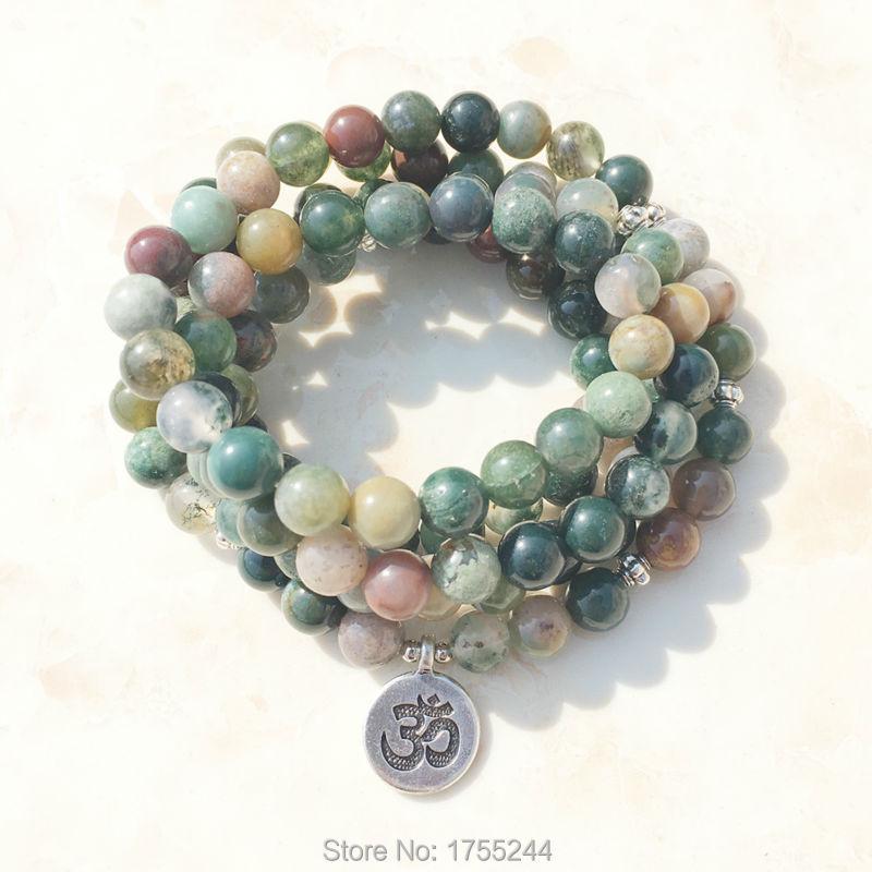 SN1034 горячая Распродажа Aliexpress женский браслет с запахом Трендовое ожерелье из индийского камня 108 Mala Необычные бусы Breaclet