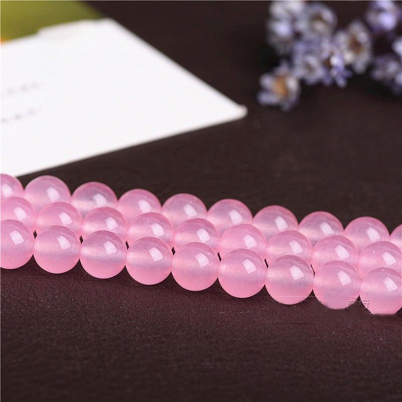 1strand/lot Natural rosa de cristal de cuarzo rosa grano redondo perlas 4/6/8/10/12mm para la fabricación de la joyería DIY pulsera collar al por mayor