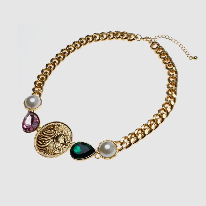 Amorita boutique trendy  lion coin pendant necklace