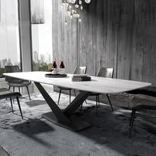 Fer métal salle à manger ensemble meubles de maison minimaliste moderne marbre table à manger rectangle grand mesa de jantar muebles comedor
