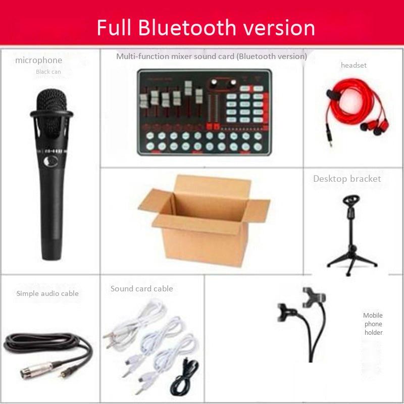Studio Audio Microphone Webcast Entertainment Streamer Live Sound Card USB External Live Bluetooth for IOS Android Phone PC Set