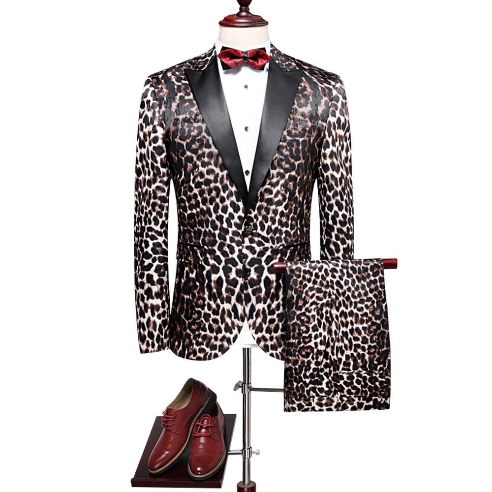 2018 New Arrival Men's Suits Vintage Leopard Print Slim Fit Formal Party Luxury Clothing 2 Pieces Jacket Pants High Quality Suit
