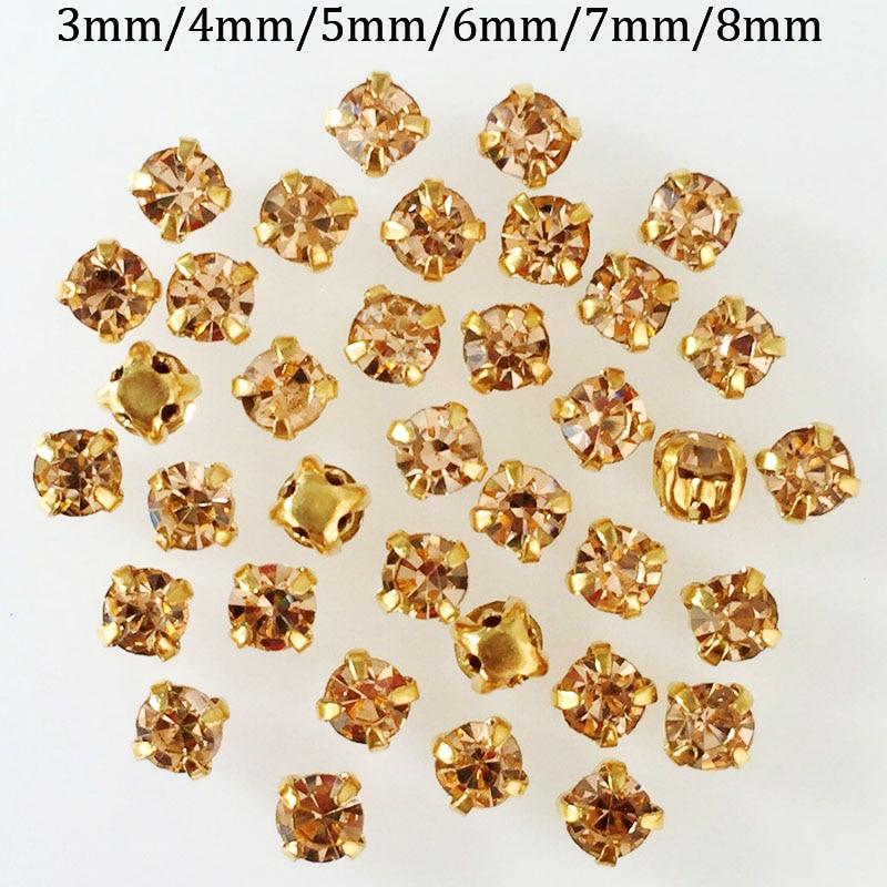 Champagne farbe quadratisch glas nähen auf rhinestones, 3mm/4mm/5mm/6mm/7mm/8mm