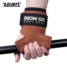 AOLIKES 1 paire de poignées en peau de vache gant de gymnastique poignées anti-dérapant salle de sport Fitness gants poignée de levage de poids salle de sport Crossfit entraînement