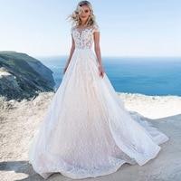 Vestido De Novia Luxury Princess A Line Lace Wedding Dress 2019 Sexy Cap Sleeves Pearls Buttons Back Custom Made Robe De Mariee