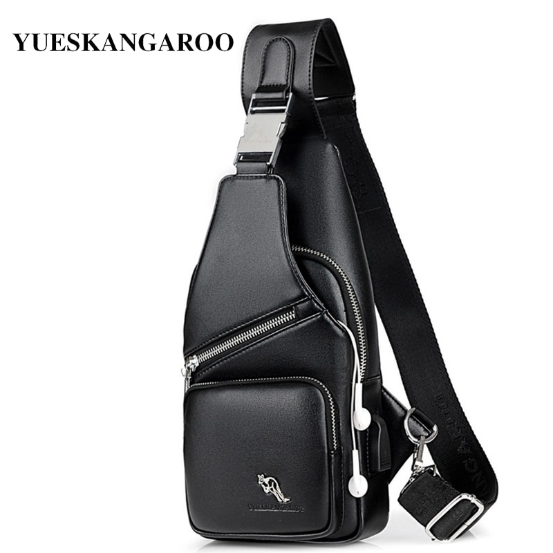 Marca Kagaroo, dos bolsillos de cuero con carga USB para hombre, bolsos de mensajero para hombre, bandolera con correa negra para hombre, paquete de pecho