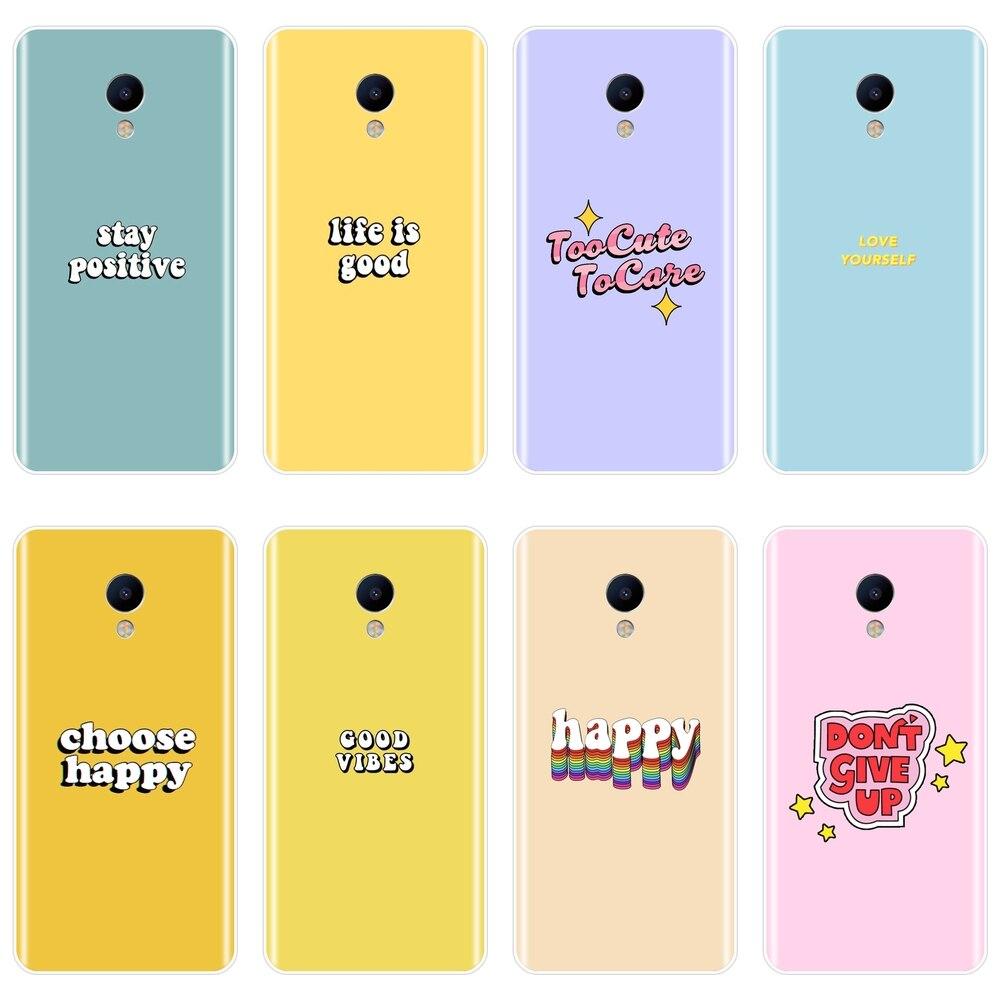 TPU para Meizu M6 M5 M3 M2 nota caja del teléfono de silicona amarillo citar púrpura suave cubierta posterior para Meizu M6 M6S M6T M5 M5C M5S M3 M3S M2