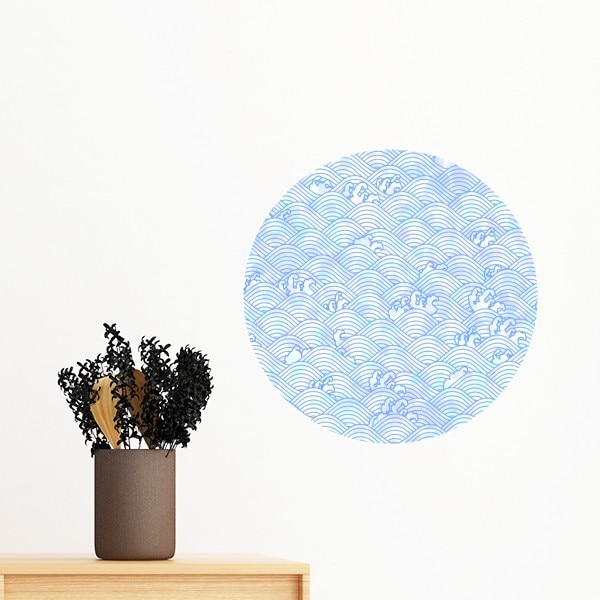 Геометрические синие волны узор Япония Съемный стикер стены художественные наклейки росписи DIY обои для комнаты наклейка