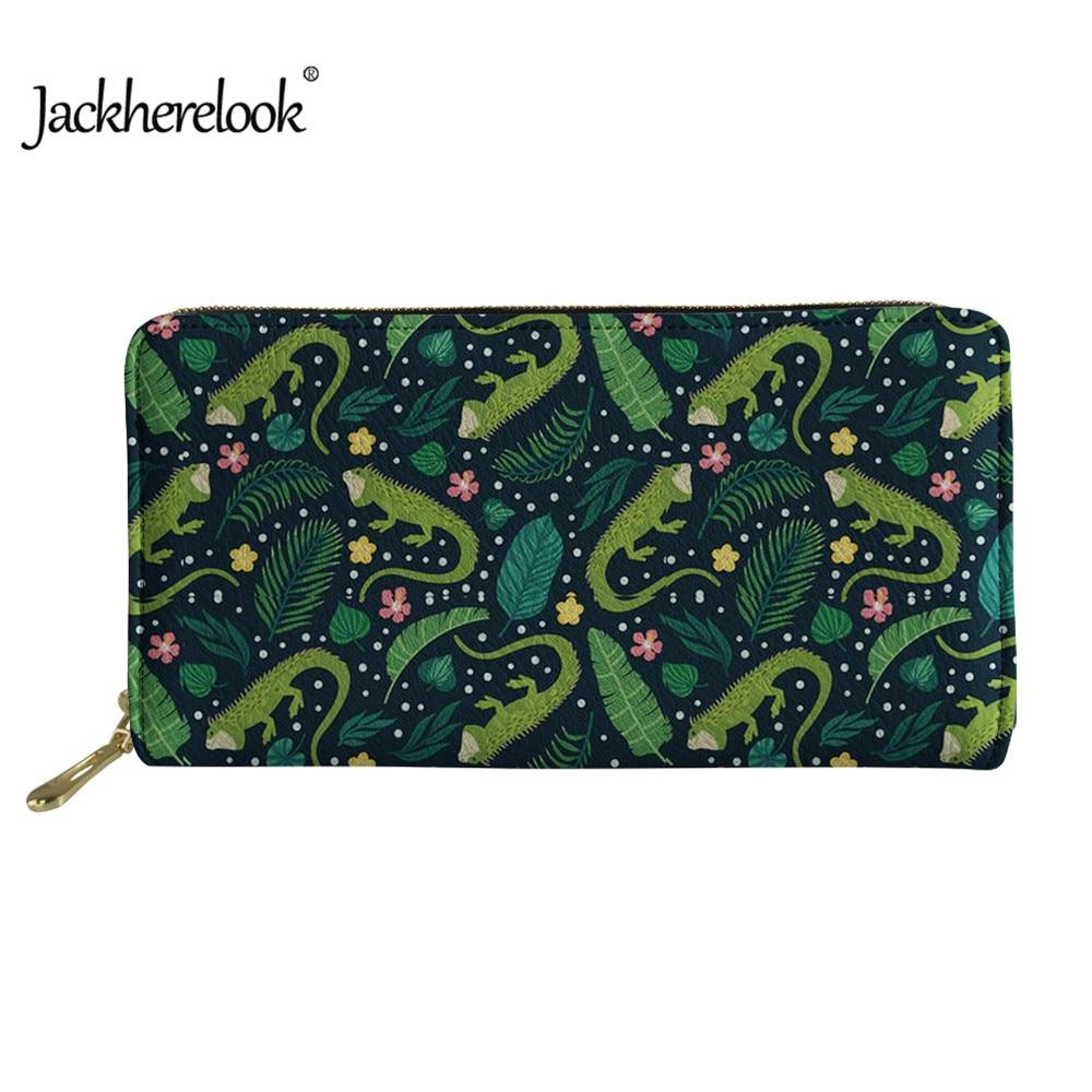 Jackherelook Ladies Wallets Funny Iguana Party Design School Girls Leather Zippers Women Purse Wallets Card Colder Portefeuille
