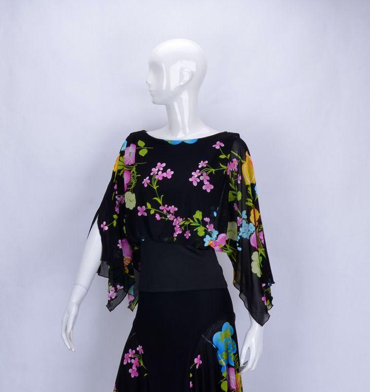 ballroom dance modern dance round collar bat sleeve tapered waist style exercise shirt blouse T14016