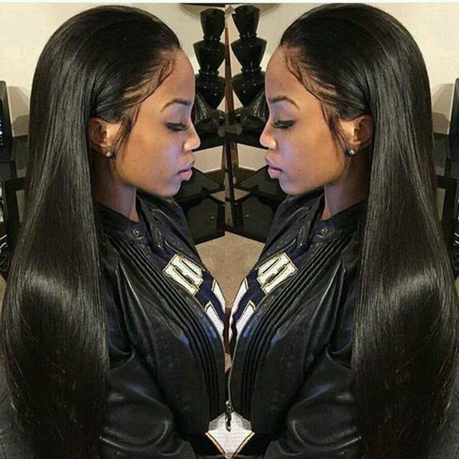 Alicrown pelucas de cabello humano con parte delantera recta de encaje Peluca de pelo de racion media 13*4 predesplumado línea de cabello no Remy densidad de 130