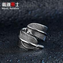 Aço inoxidável soldado aço bom detalhe mulher e homem pena anel de aço inoxidável alta qualidade abertura jóias