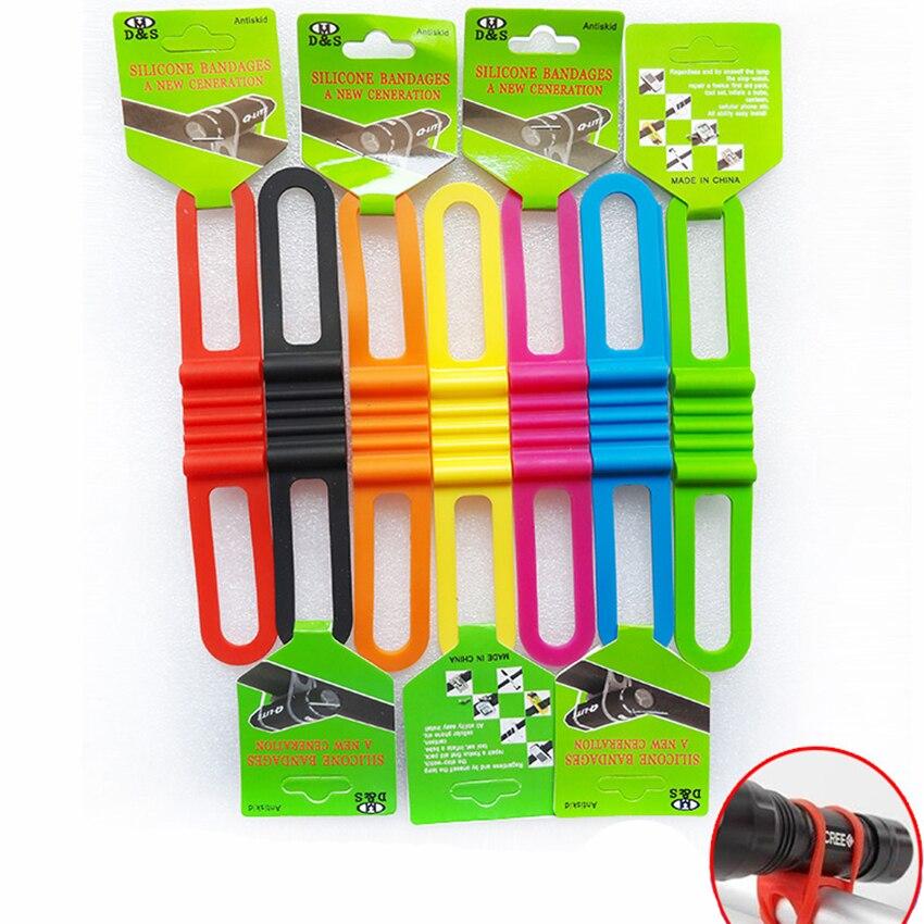 1 PCS 145mm Cycling Bike Bicycle Silicone Band Elastic Strap Bandage Flashlight Mount Holder Bike Light Holder Multi Colors