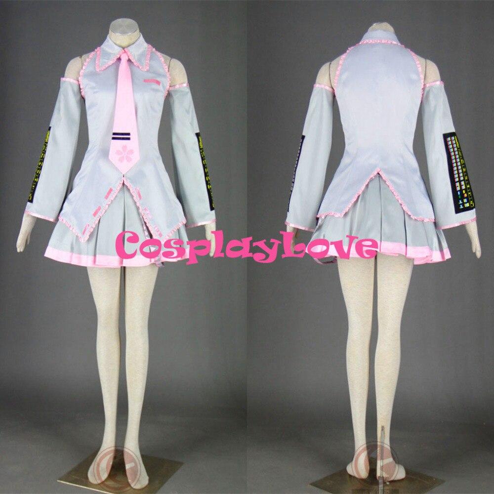 High Quality Stock Japanese Anime Vocaloid 2th Sakura Miku Hatsune Cosplay Costume Dress For Halloween Size(XXS-3XL)