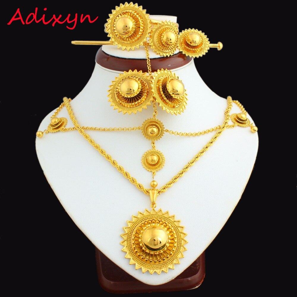 Nuevo conjunto de joyas etíopes de 24 k, cadena de cabello color dorado/colgante/cadena/pendiente/anillo/pasador de pelo/brazalete de Eritrea, artículo de boda africana