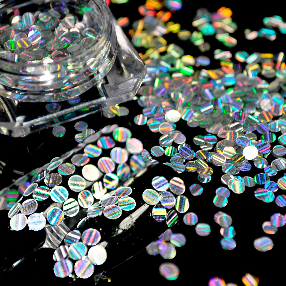 1 Bottle Round Stripe Line Nail Art Glitter Shinning Slice Silver Laser Flakes Ultra-thin Holographic Nail Sequins Paillette