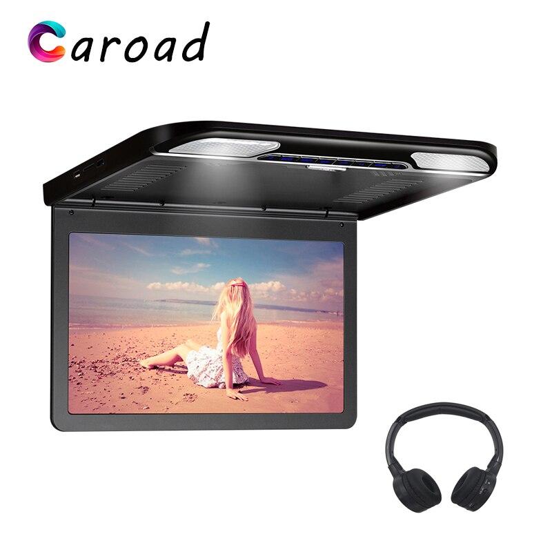 MP5 Player 13,3 pulgadas FHD 1080P IPS pantalla Digital de montaje en techo soporte de Monitor/HDMI/USB/SD/IR/FM Transmisor abatible hacia abajo TV en coche
