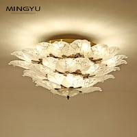 Longree Modern E14 Crystal Ceiling Lights luminarias para sala plafon led Clear Leaf Lamp Fixtures For Bedroom Living Room