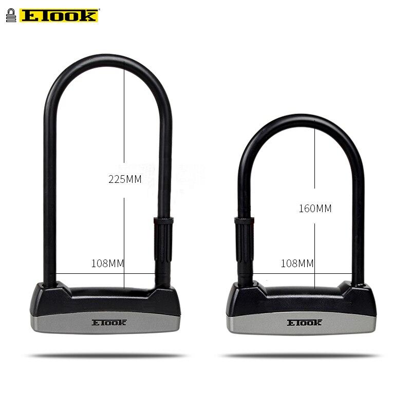 Etook U-sperre Fahrrad Lock Anti-diebstahl Stahl Elektrische Fahrrad Roller Bequem Lock Rahmen Fahrrad Zubehör ET110