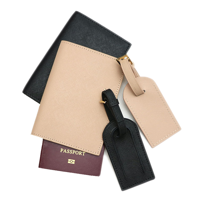 Fashion Monogrammed Initial Letters Uni Saffiano Leather Passport Holder Luggage Tag Passport Cover Set Travel Accessorries