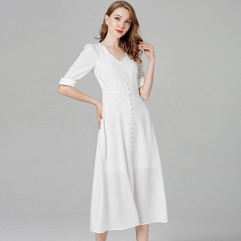 Vestido largo blanco de media manga de verano de las mujeres 2019 vendedores calientes línea a media pantorrilla botón elegante feria Maiden tela delgada cómodo