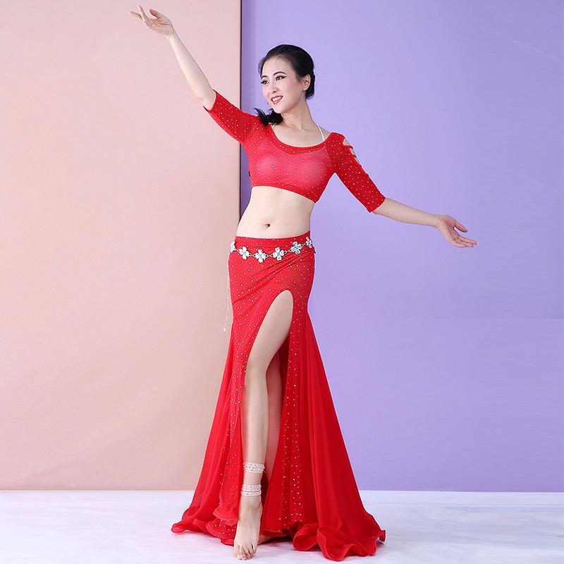 Trajes de dança de bollywood sexy para as mulheres robe danse orientale trajes de bellydance conjunto 2pcs prática roupas de dança do ventre dqs1899